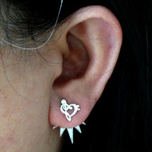 Handmade 925 Sterling Silver Music Note Ear Treble Bass Clef Jacket Stud... - $42.00