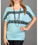 TOP WITH LACE DETAIL *NECKLACE INCLUDED*  - $12.99