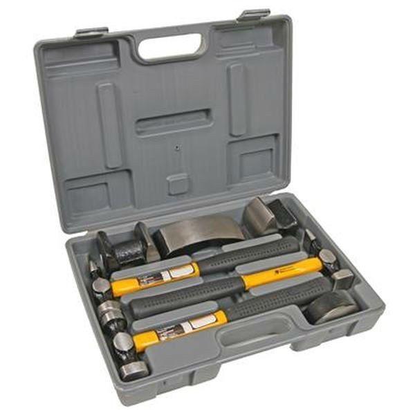7 pc Heavy Duty Auto Body Repair Kit Hammer Fiberglass