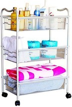 Stylish Metal Mesh Rolling Storage Utility Cart Silver Salon Spa Home Ba... - £32.21 GBP