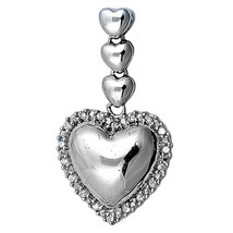 Sterling Silver Heart pendant round CZ round cut ladies New Bridal d119 - $23.11