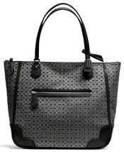 Coach Poppy Tote In Signature C Metallic Outline Fabric (SILVER/BLACK/BL... - $283.14