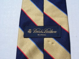 Brooks Brothers Makers Mens Pure Silk Neck Tie England Woven Gold/Navy/Red/Blue - $44.45