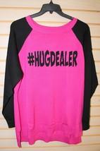 New Womens Plus Size 3X #Hugdealer Bright Pink & Black Raglan Sweater Shirt Top - $17.41