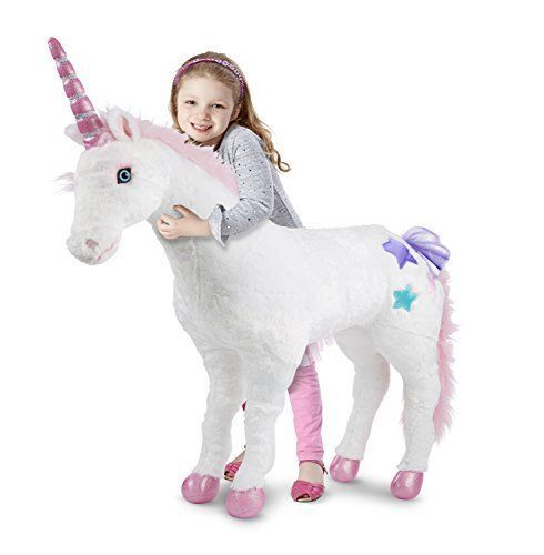 Large Plush Pink Unicorn Toy Soft Stuffed Horse Pony Animal Doll!
