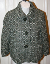 J.Crew Women's Green Off White Tweed Wool Blend Jacket Blazer Sz 8 Lined Cropped - $49.99