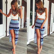 Classic Models Sexy Fashion Printing Printed Irregular White Pencil Split skirts - $14.50