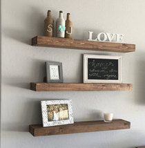 Wood Floating Shelf  Rustic Design  20 Finish Colors Avail  Hand Made to... - $84.00