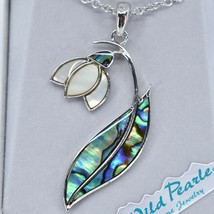 A.T. Storrs Wild Pearle Abalone Shell Snowdrop Floral Flower Pendant & Necklace image 2