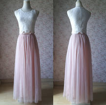 Sleeveless Crop Lace Long Tulle Skirt Pink Rustic Bridesmaid Dresses Plus Size image 1