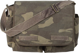 Woodland Camouflage Military Heavyweight Canvas Classic Messenger Bag - $36.99