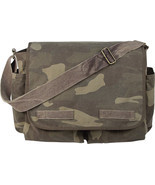 Woodland Camouflage Military Heavyweight Canvas Classic Messenger Bag - £27.75 GBP