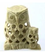 Vintage OWL Soapstone 3 Owl Figurine Baby Insid... - $20.09