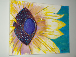 "ORIGINAL 14"" SUNFLOWER MODERN SIGNED CANVAS PAINTING  -: rdoward fine art - $68.31"