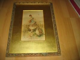 ANTIQUE J.WILLIS JAMES WALLIS WATERCOLOR 1900'S WOMAN GEESE PAINTING SAL... - $247.49