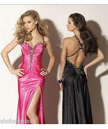 Prom Dress Full Length Formal Beaded Gown Pageant Black Halter Size 6 - $103.92