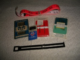 Vintage Sewing Needles, Pincushion & Tape Measures - $10.00