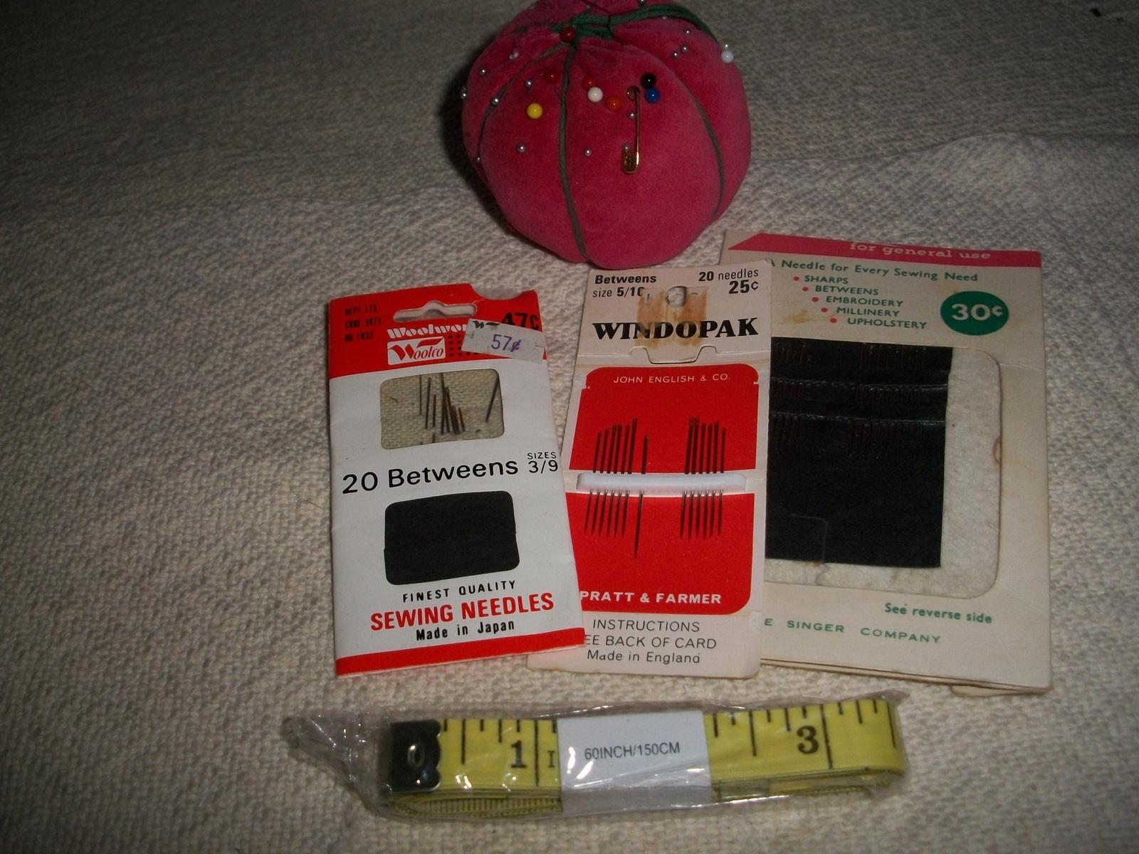 Vintage Sewing Needles, Pincushion & Tape Measures