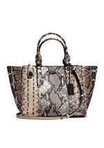 Coach Dark Fog/Multi Exotic Snake-Embossed Leather Snap Close Crosby Car... - $635.99