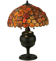 Agate Red Stone Table Lamp made Tiffany Copper Foil Style w Natural Stones - $893.97