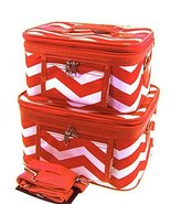 World Traveler Red Chevron Makeup Train Case 2-... - $34.64