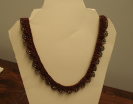 Brown beaded knit necklace - $25.00