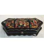 PAYLEKH Russian Hand Painted BLACK LACQUERED BO... - $678.15