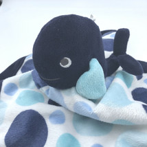 Carters Blue WHALE BABY LOVEY Blue White Security Blanket Polka Dots - $14.69