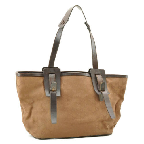 GUCCI GG Canvas Wood Tote Bag Brown Auth ar1212