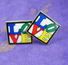 Hippie Love Cufflinks Vintage Enamel Fine Jewelry Wedding gold mens acce... - $175.00