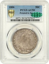 1806 50c PCGS/CAC AU50 (Pointed 6, Stems) Great Type Coin - Bust Half Do... - $3,598.70