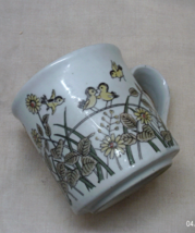 Vintage Stoneware Coffee Mug // Little Yellow Birds // Coffee Cup // Flo... - $9.00