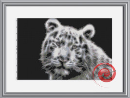 White Fractal Tiger Cross Stitch Pattern, Instant Download PDF - $9.00