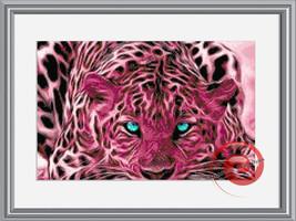 Fractal Pink Tiger Cross Stitch Pattern, Instant Download PDF - $9.00