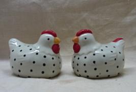 Vintage Black & White Polka Dot Chicken Salt & Pepper Shakers // S&P Sha... - $10.50