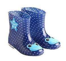 Cute Starry Kids' Rain Boots Blue Frog Children Rainy Days Shoes 18CM
