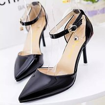 PS001 Princess pointed ankle sandals, size 34-39, BLACK - $42.80