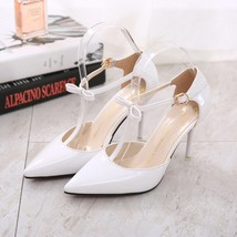 PS002 T-strap pointed ankle sandals, size 34-39, BLACK - $42.80