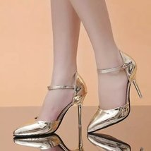 PS005 metallic pointed ankle sandals size 34-39, gold - $48.80