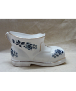 Vintage Panda Ceramics Fine Bone China Blue & White Floral Shoe/boot // ... - £9.70 GBP