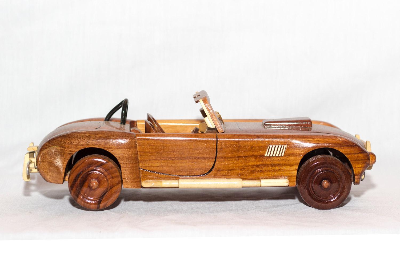 Wood Car Art : Shelby cobra handcrafted mahogany wooden model car