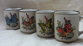 Vintage Retro Stoneware Butterfly Design Coffee Mugs // Set of Four Coff... - $20.00