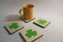 Wooden Felt Coasters Home Decor  - set of 4 Scrapbooking Shamrock Shape - $11.41