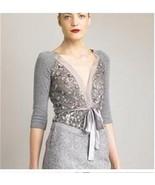 VALENTINO Sweater Set Open Cardigan w/ Sequins Cashmere Tank Silk Belt S... - $424.71