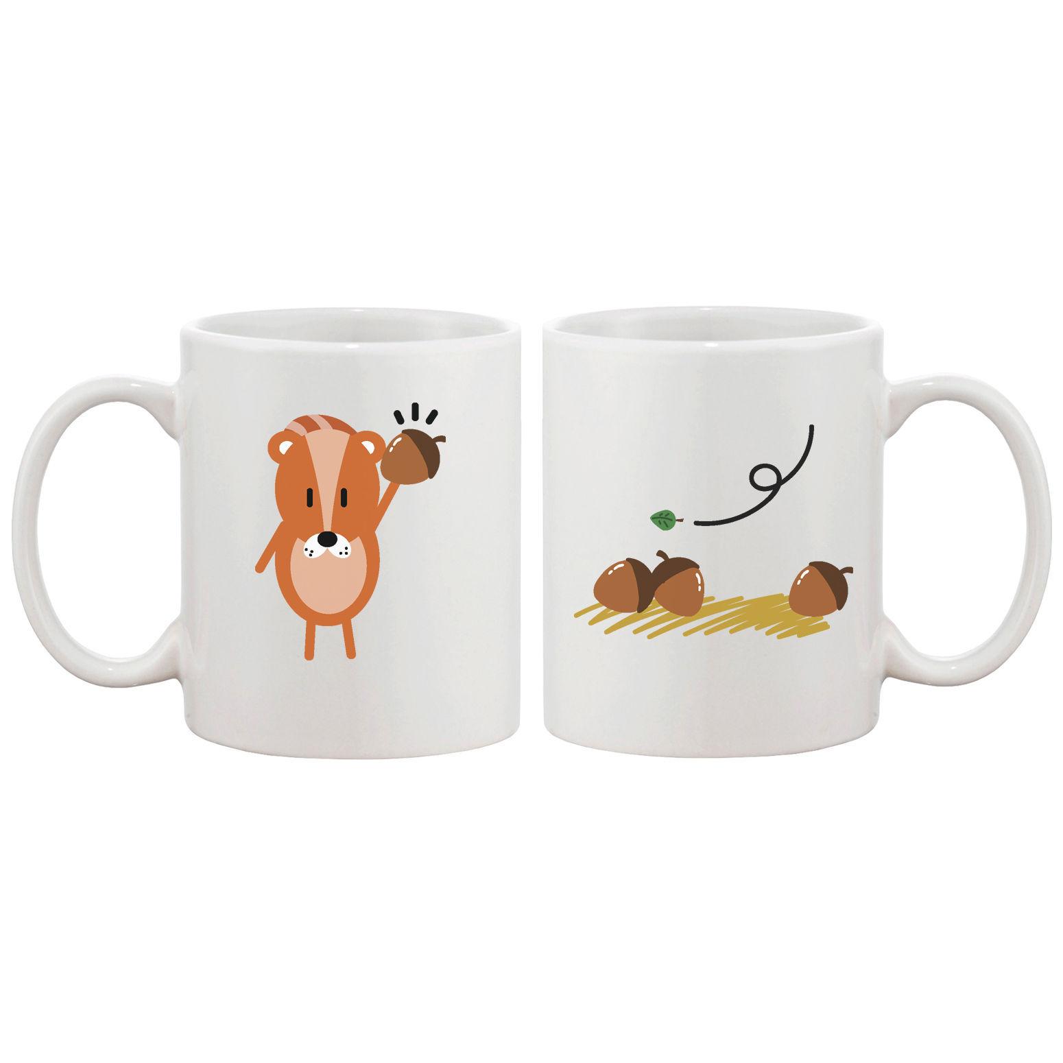 Funny Squirrel Couple Mugs Cute Graphic Design Ceramic