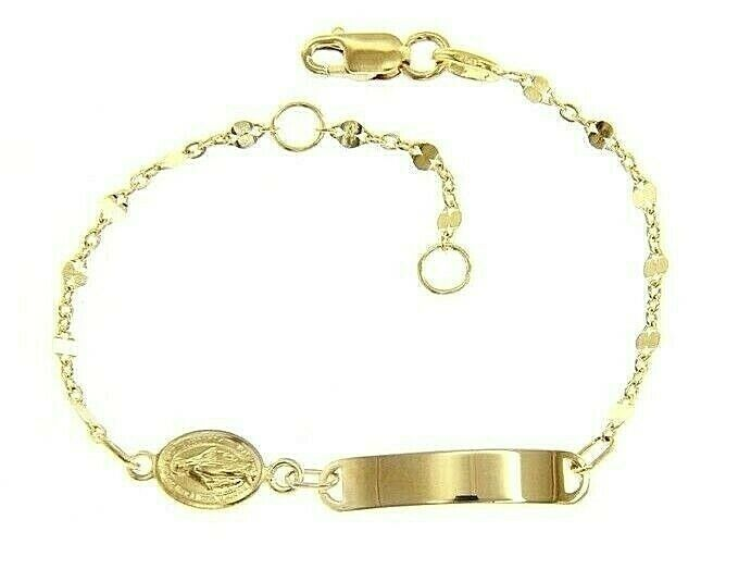 18K YELLOW GOLD BRACELET FOR KIDS WITH MIRACULOUS MEDAL MADE IN ITALY  5.91 IN