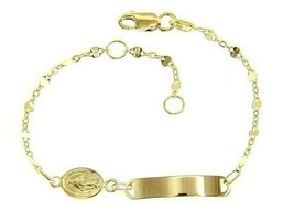 18K YELLOW GOLD BRACELET FOR KIDS WITH MIRACULOUS MEDAL MADE IN ITALY  5.91 IN image 1