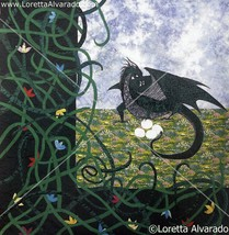 Set of 2 Dragon art posters by fiber artist Loretta Alvarado image 2