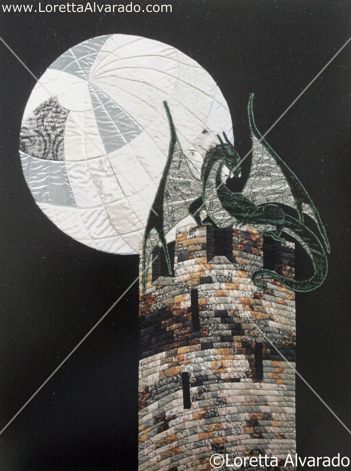 Set of 2 Dragon art posters by fiber artist Loretta Alvarado