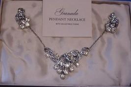 Vintage Dazzling Granada Rhinestone Necklace & Earring Set in orig box - $22.02